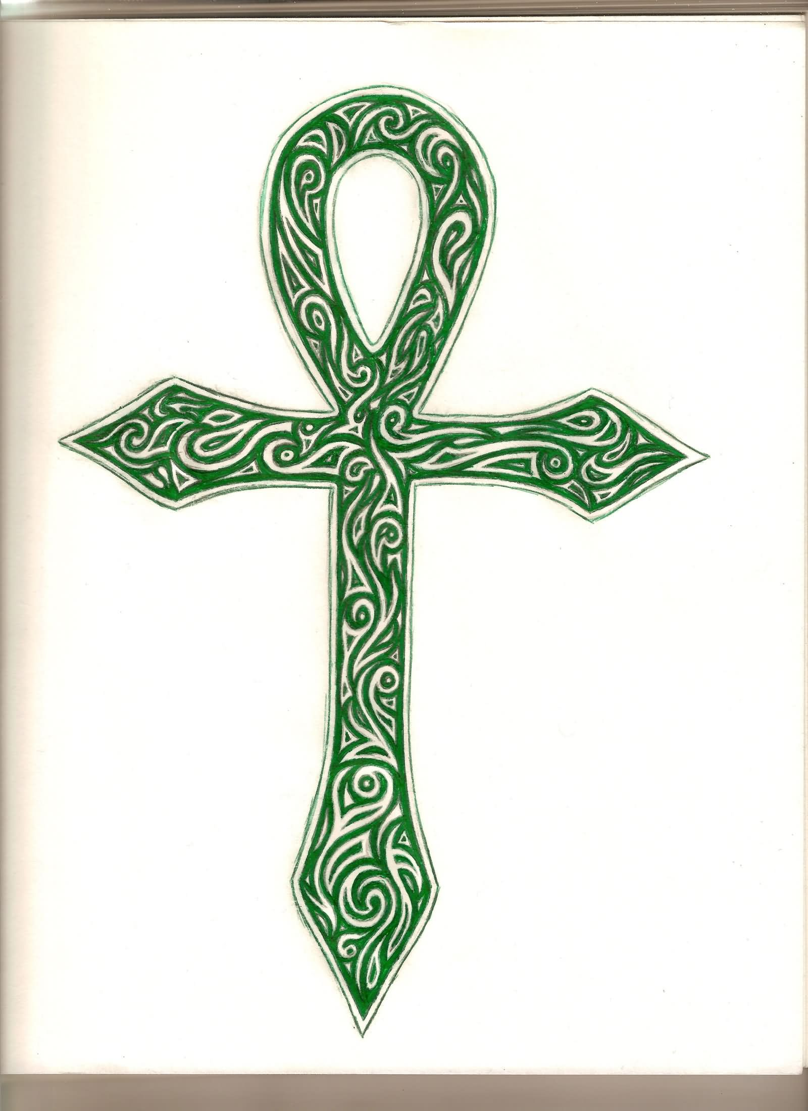 4af00965e412e Green Ink Tribal Ankh Tattoo Design