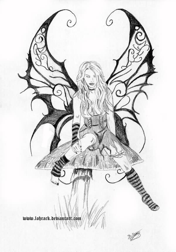 Grey ink evil fairy on mushroom tattoo design for Skull fairy tattoos