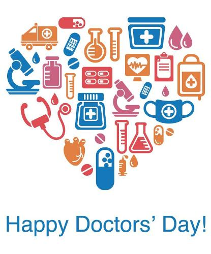 Happy doctors day medical equipments heart shape m4hsunfo