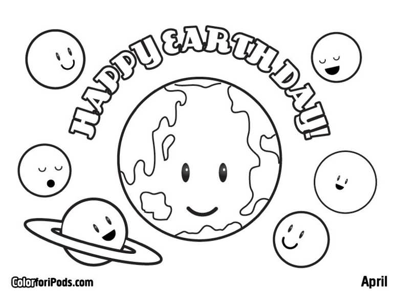 Happy Earth Day Planets Coloring Page