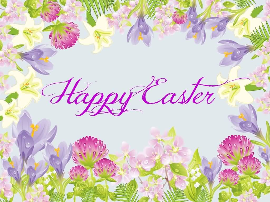 Happy Easter Amazing Flowers Design Greeting Card