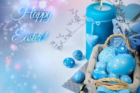 Happy Easter Blue Candles And Eggs Picture