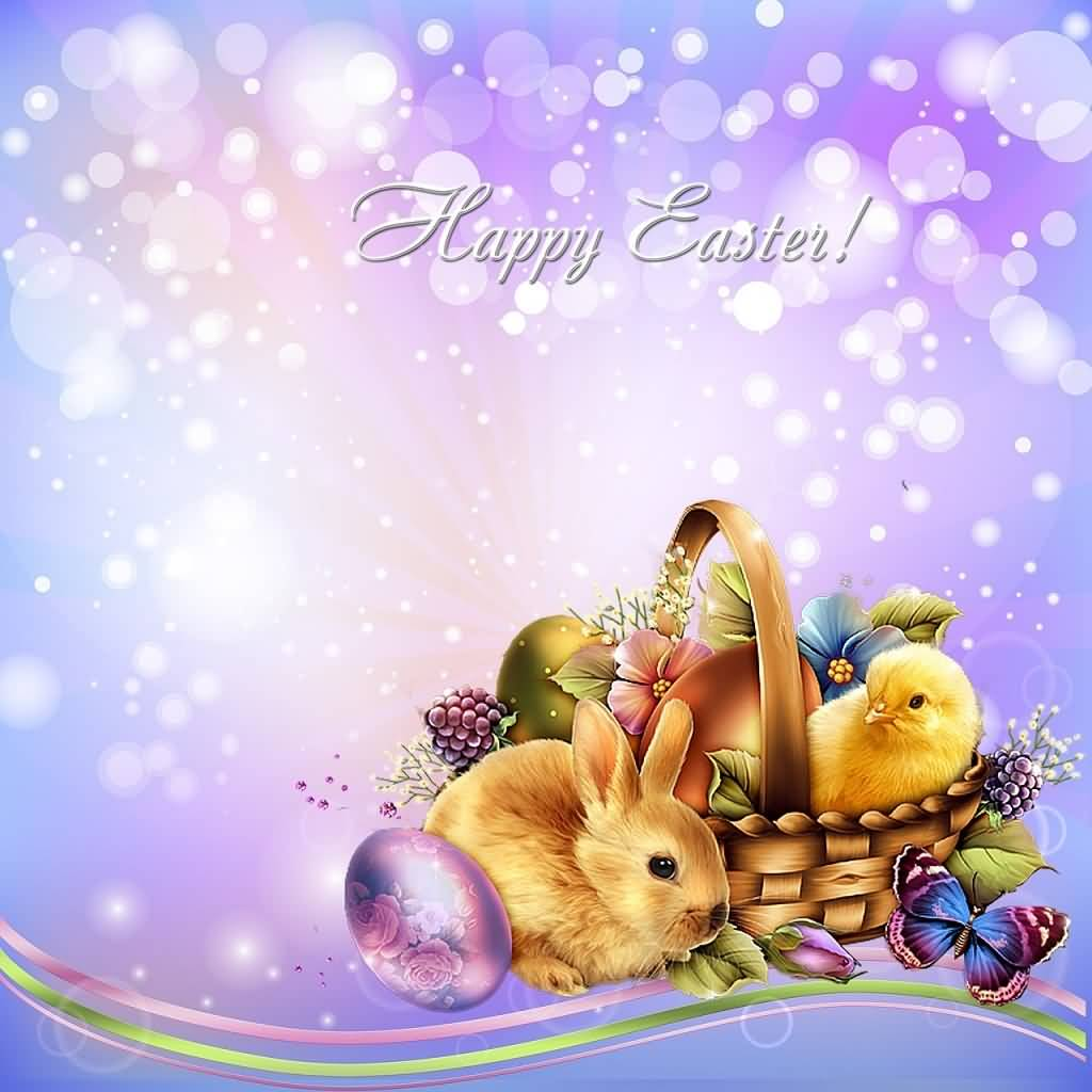 Happy Easter Bunny, Chicken And Eggs In Basket Card