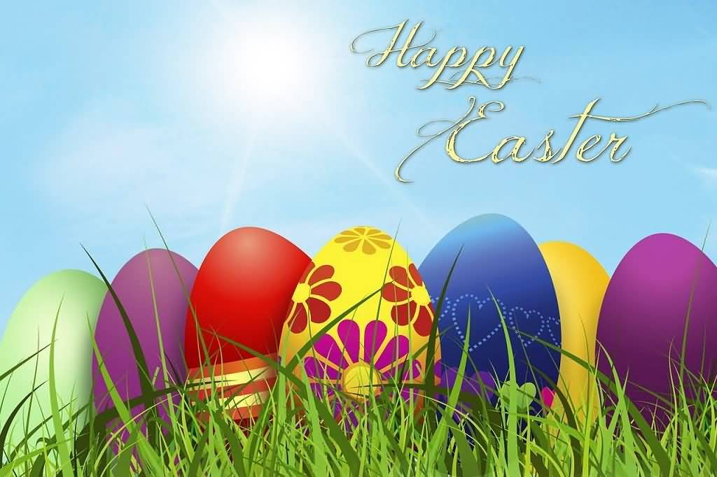 Happy Easter Colorful Eggs Greeting Card