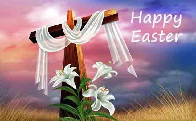Happy Easter Cross With White Cloth Greeting Card