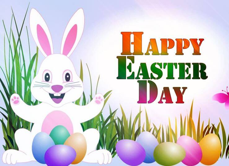 Happy Easter Day 2017 Bunny With Eggs Picture