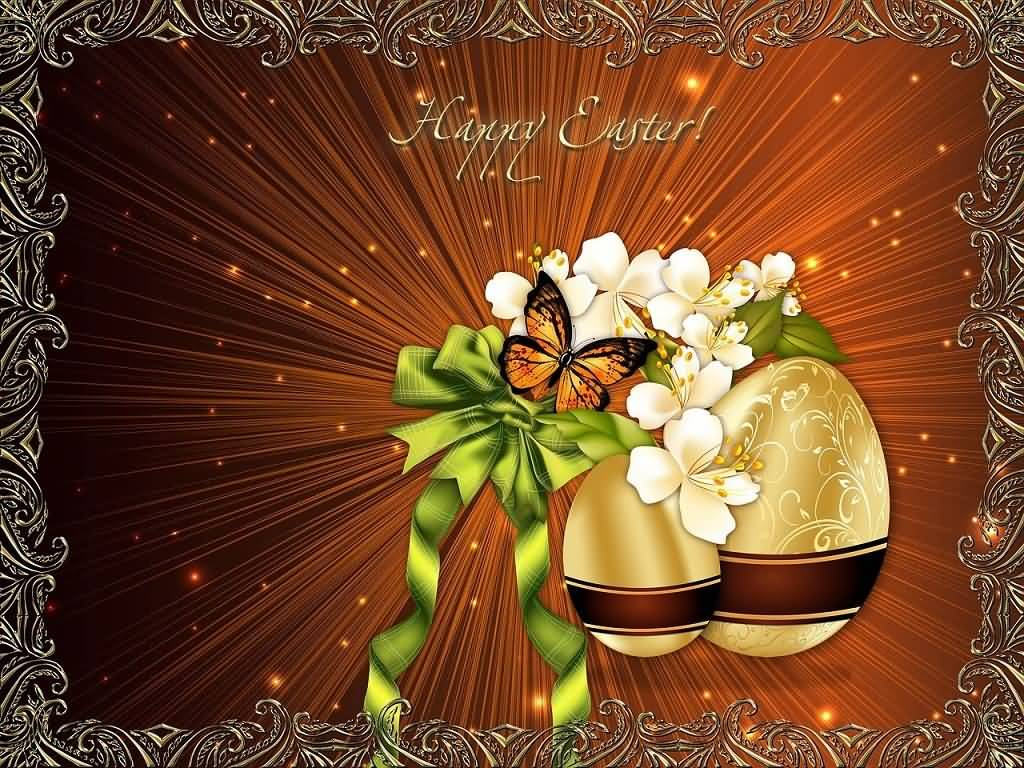 Happy Easter Flowers And Eggs Card