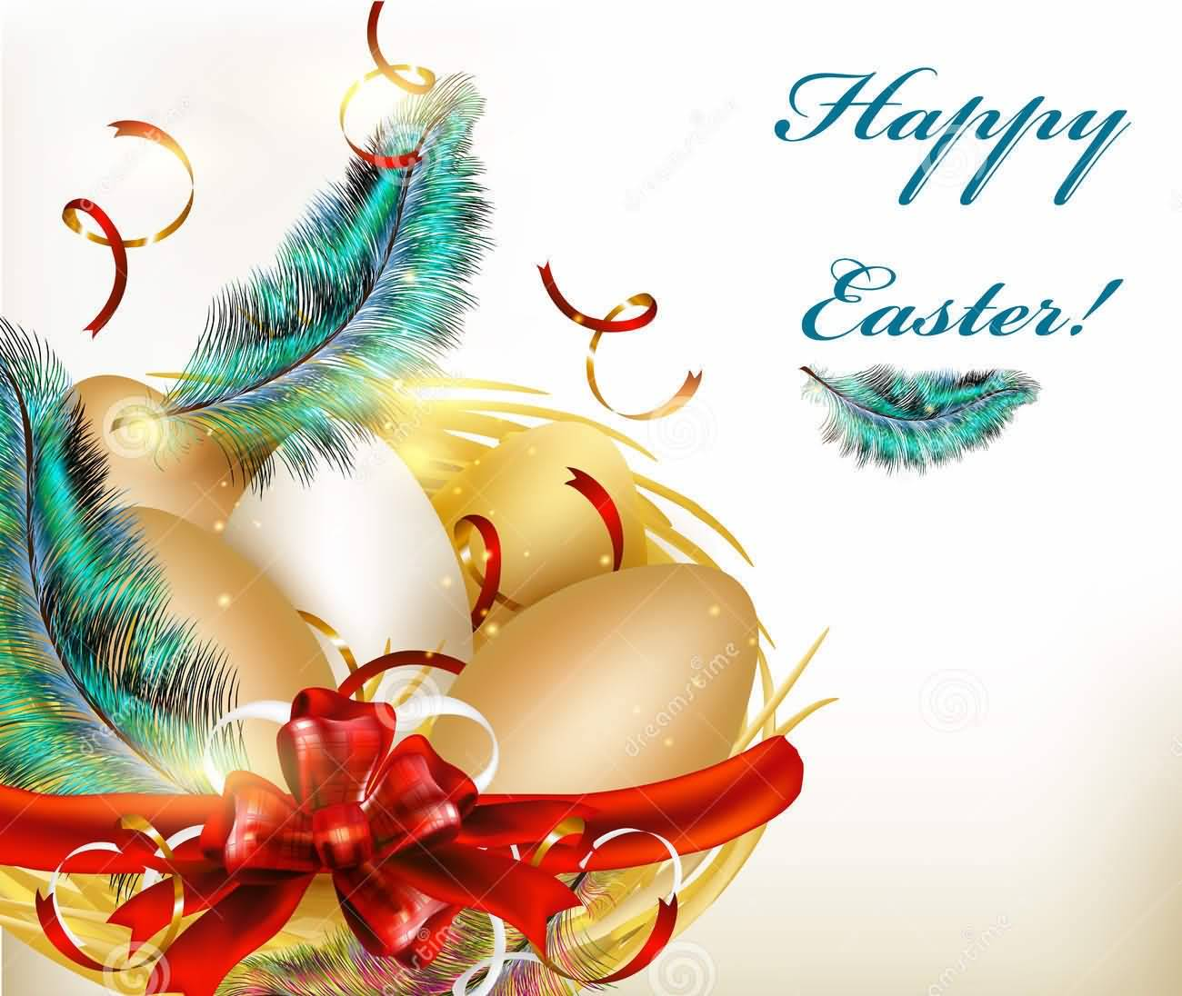 Happy Easter Golden Eggs And Peacock Feathers Gift Wrap