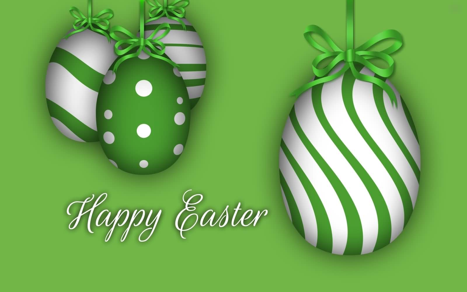 Happy Easter Green And Silver Eggs Picture