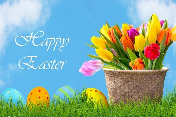 Happy Easter Tulip Flowers In Basket