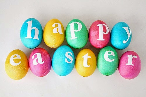 Happy Easter Written On Colorful Eggs