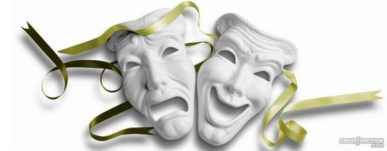 happy world theatre day masks facebook cover picture