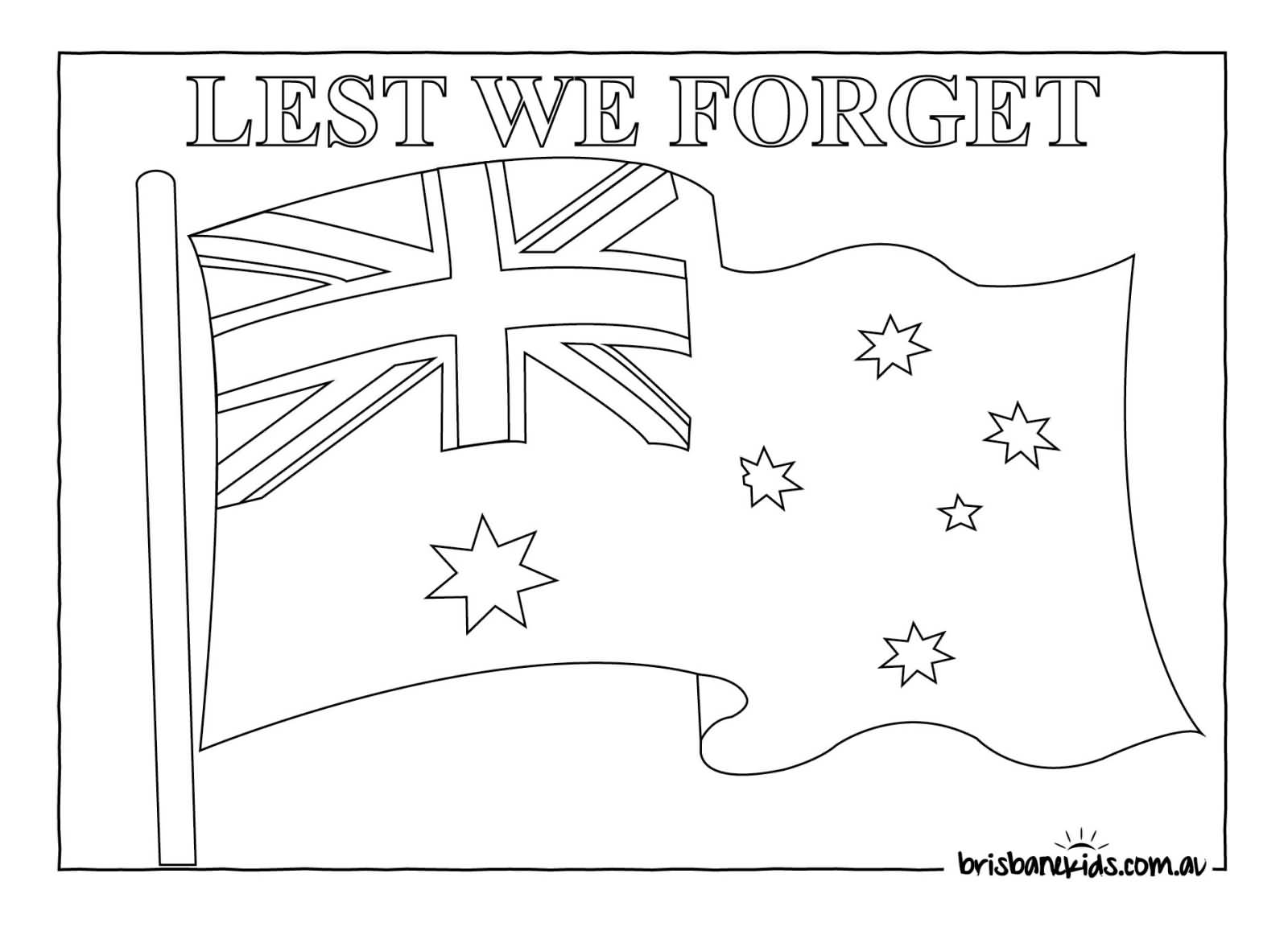 lest we forget anzac day australian flag coloring page
