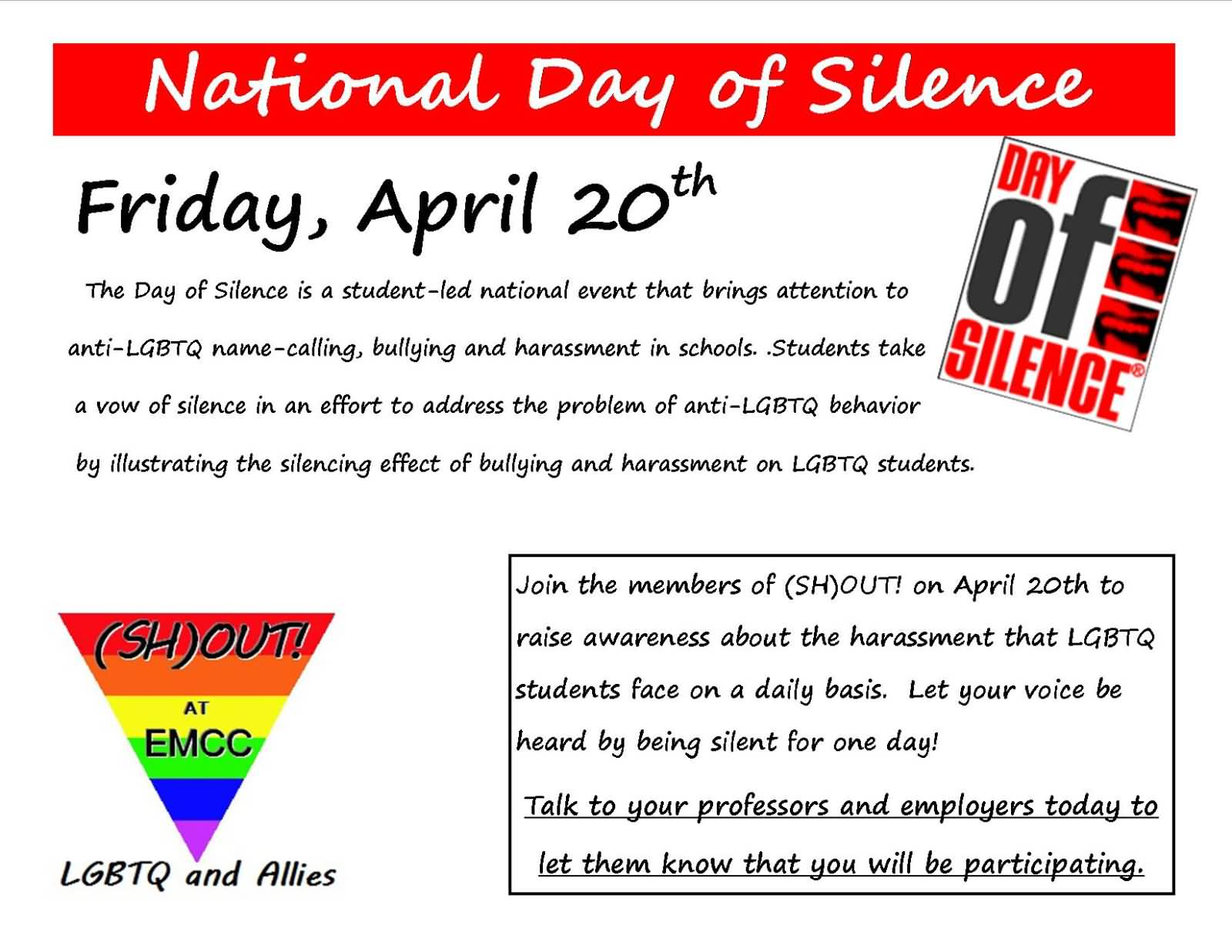 National Day of Silence April 20th