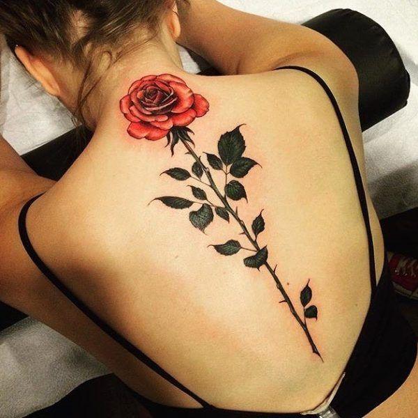 Red Rose Tattoo On Women Upper Back