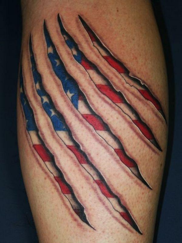 Ripped Skin America Flag Tattoo Design For Leg Calf