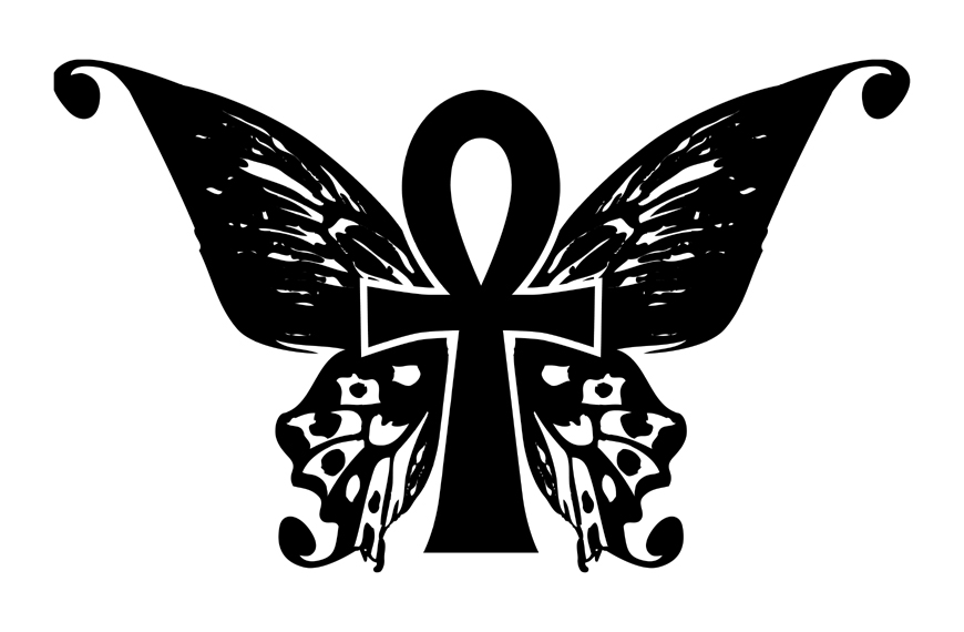 Silhouette Ankh With Butterfly Wings Tattoo Stencil