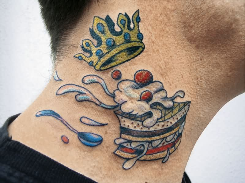 9e56addb9c1f2 Traditional Cake Piece With Crown Tattoo On Man Right Side Neck