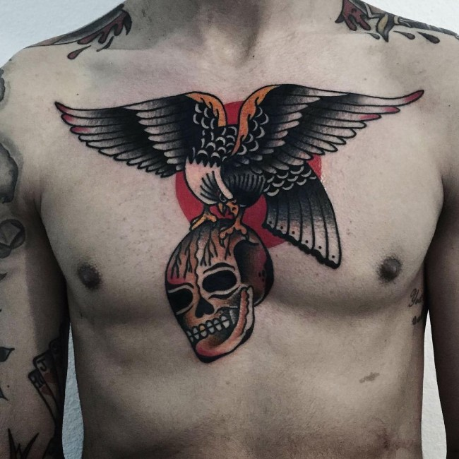 51 best eagle tattoos design and ideas for Skull and eagle tattoo