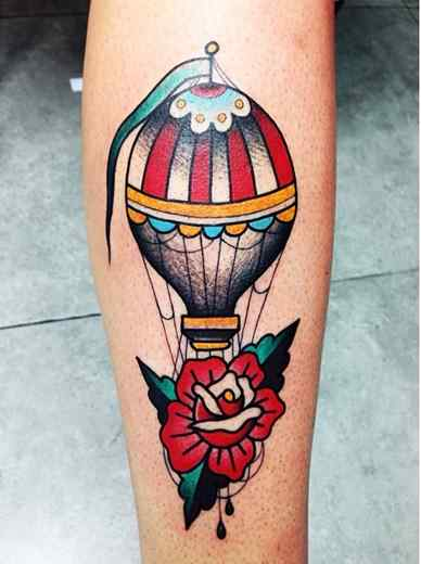 Traditional Hot Air Balloon With Rose Tattoo Design For Sleeve