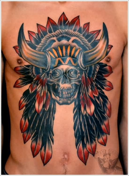 Traditional Native American Skull Tattoo On Man Chest