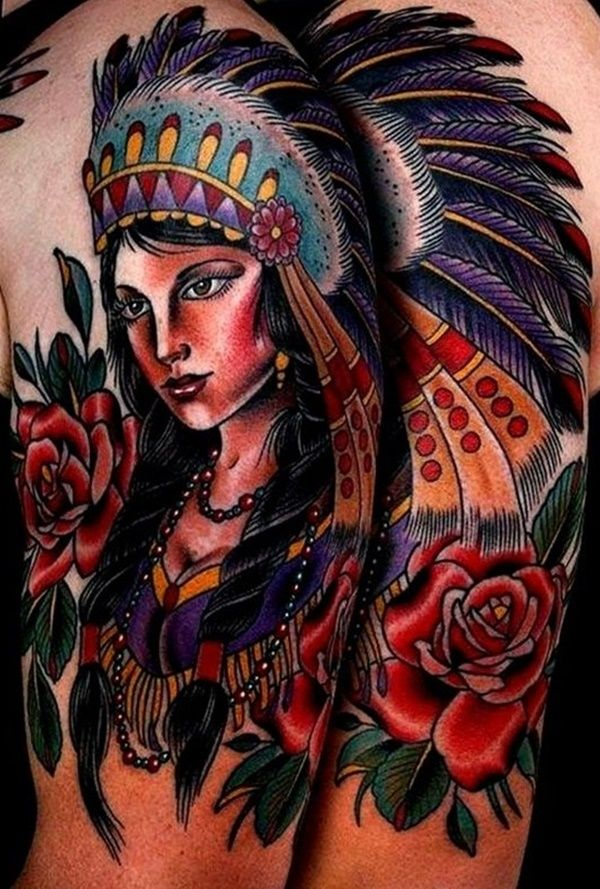 traditional native american women with rose tattoo on left half sleeve. Black Bedroom Furniture Sets. Home Design Ideas