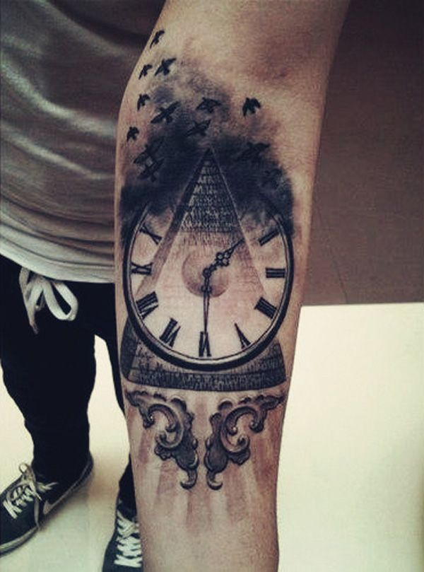 2852ed932 Unique Black Pyramid With Clock Tattoo On Left Forearm