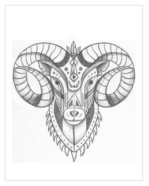 f3c7c3419 Unique Grey Ink Aries Head Tattoo Design