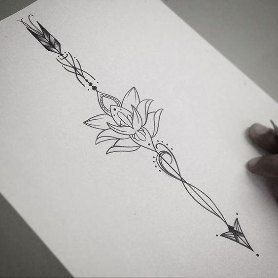Unique Lotus Flower Arrow Tattoo Design