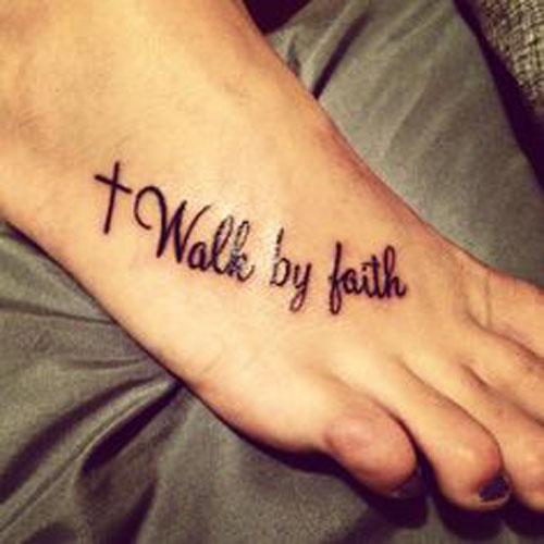 Walk By Faith Black Cross Tattoo On Right Foot