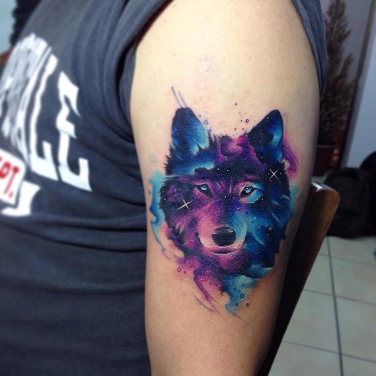 Watercolor Abstract Wolf Head Tattoo On Left Half Sleeve