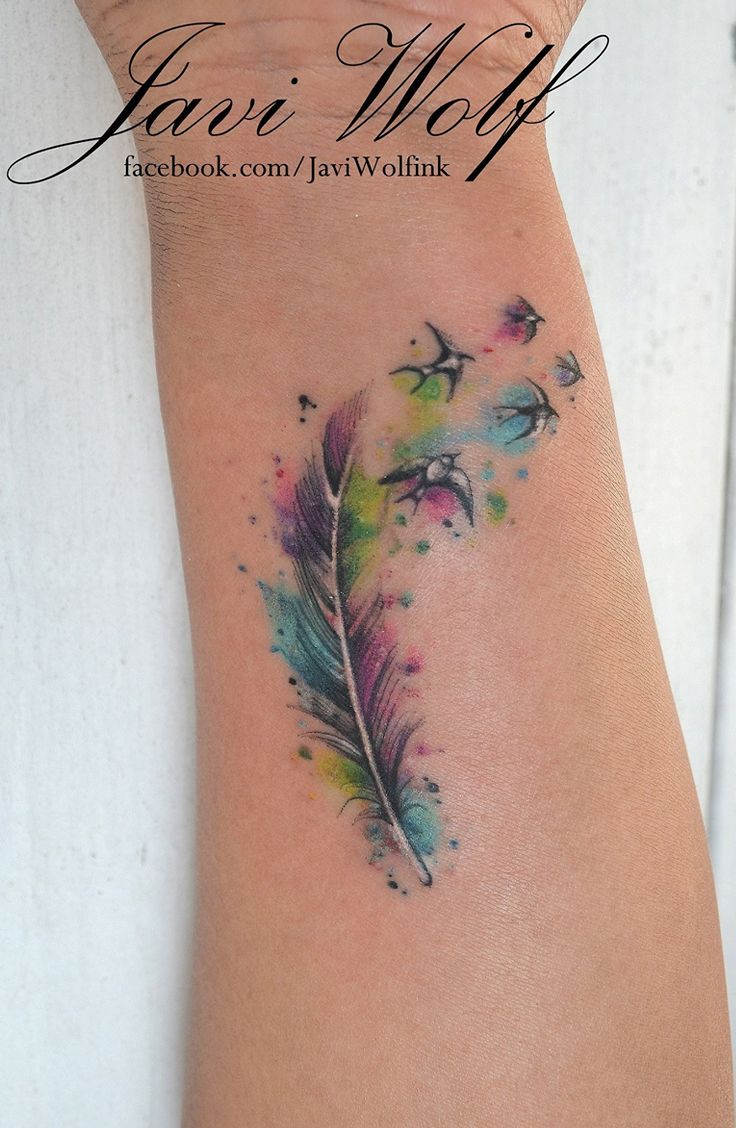 Watercolor Feather With Flying Birds Tattoo Design For Wrist