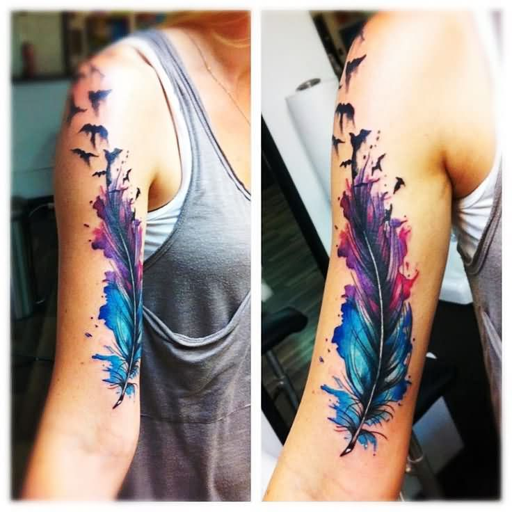 Watercolor feather with flying birds tattoo on right half sleeve urmus Images