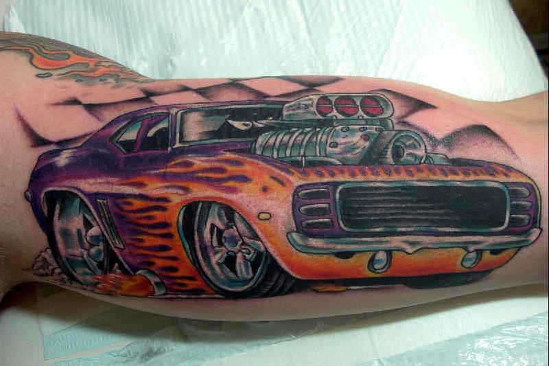 Wonderful Camaro Car Tattoo On Bicep