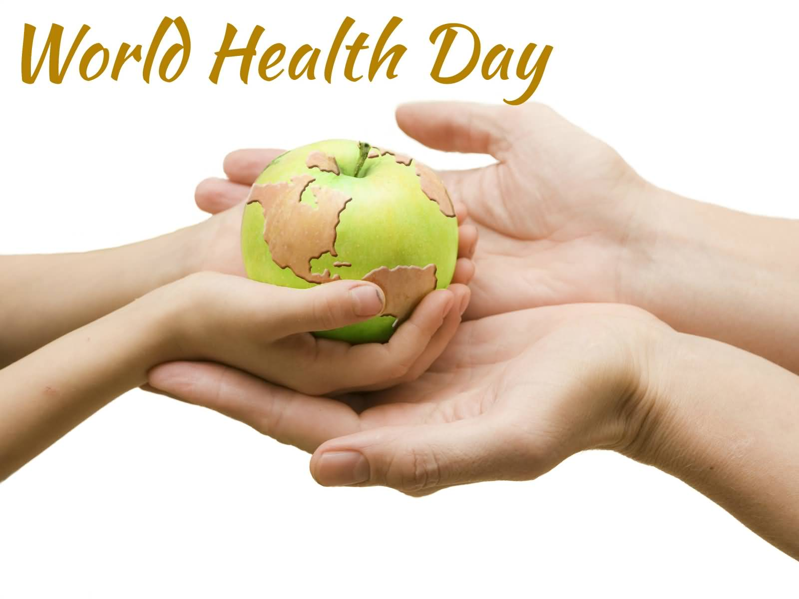 World health day apple with world map in hands gumiabroncs Image collections