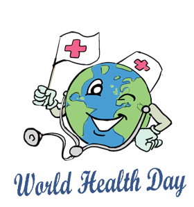 World Health Day Happy Earth With Medical Symbol Clipart