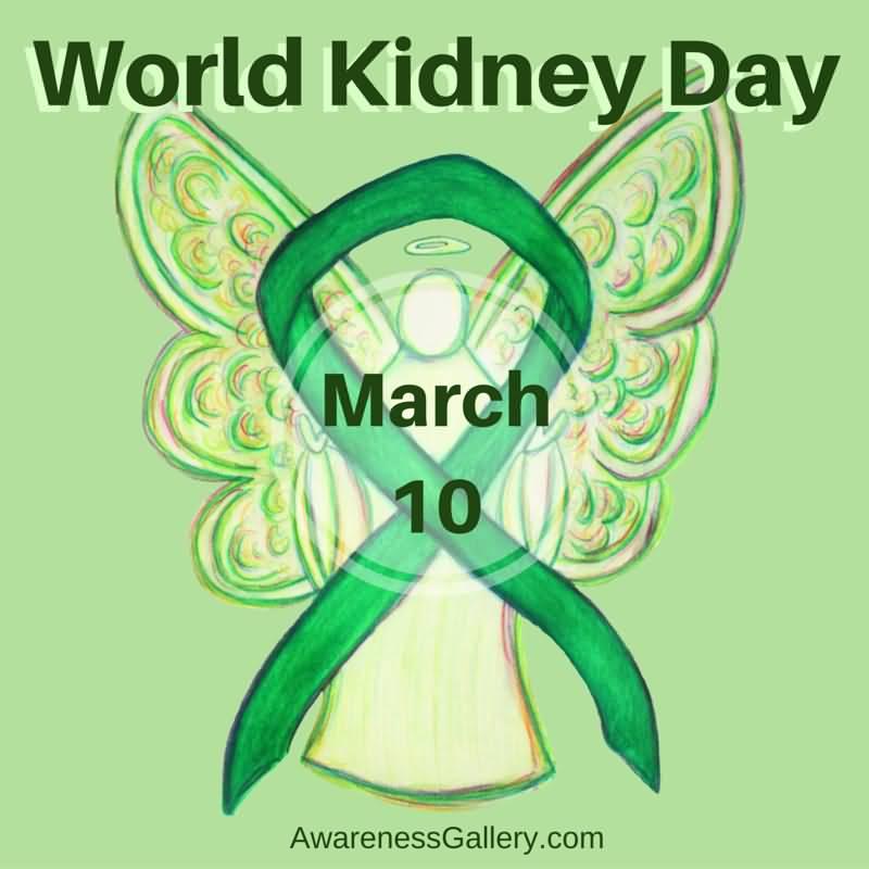 world kidney day march 10 green awareness ribbon
