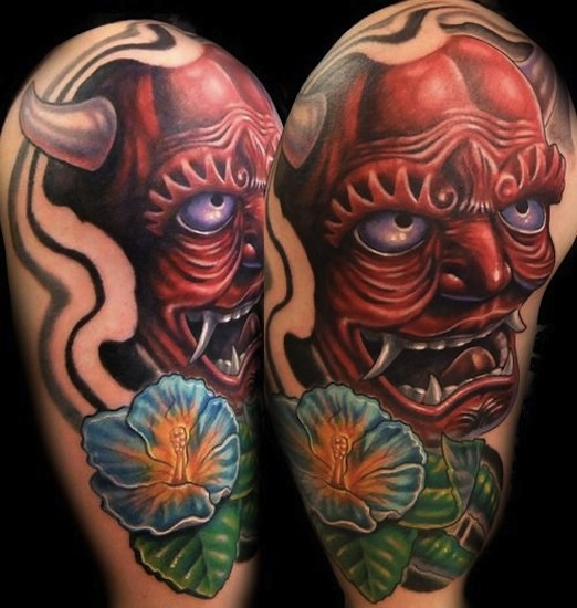 3D Japanese Hannya Head With Flower Tattoo On Right Half Sleeve