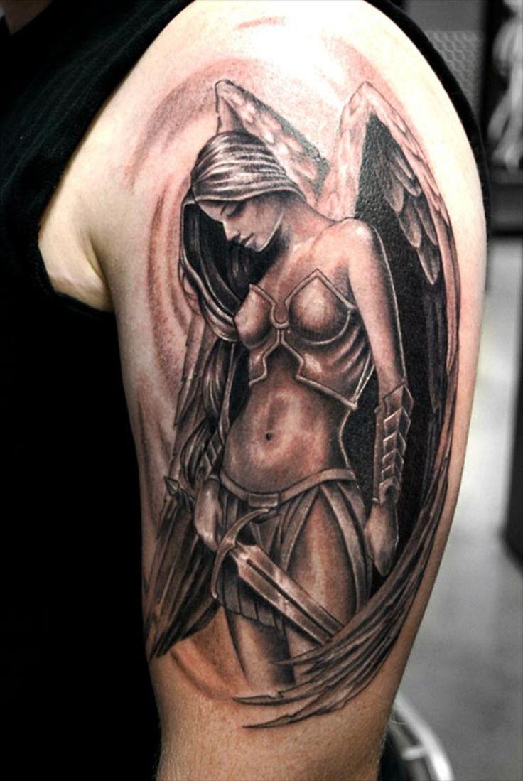 Angel Girl With Sword Tattoo On Half Sleeve
