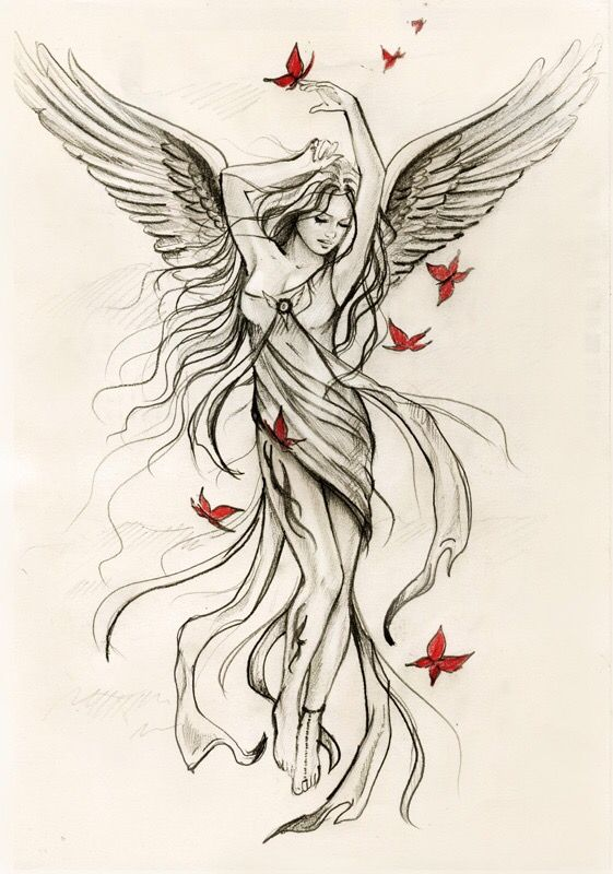 71dd99b5a Angel With Butterflies Tattoo Design