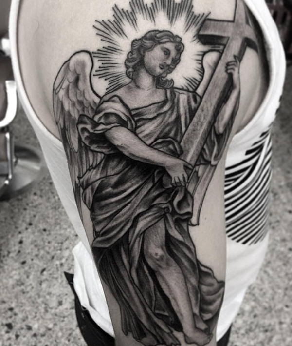 Angel With Cross Tattoo On Right Half Sleeve