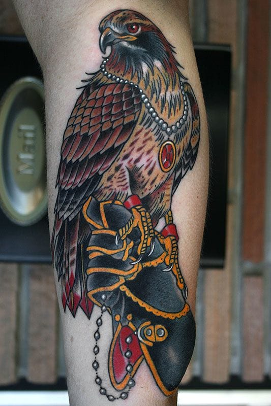 Attractive Traditional Hawk Tattoo On Leg Calf