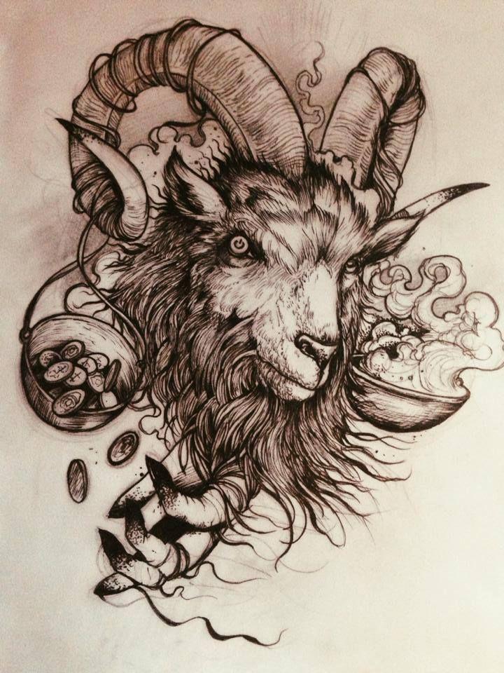 f6deb8fa23a28 Awesome Black Ink Goat Head Tattoo Design