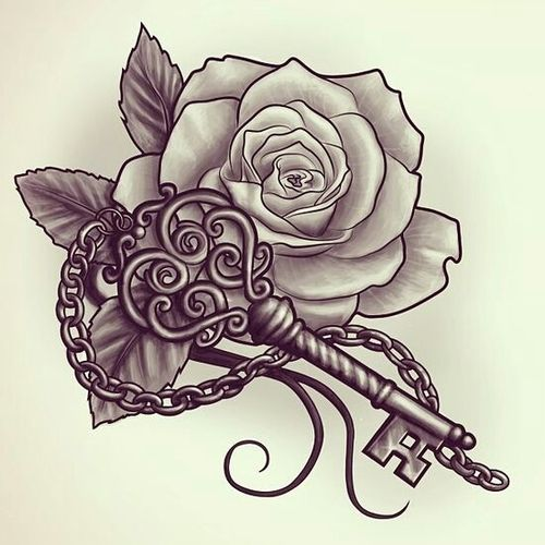 awesome black ink key with rose tattoo design. Black Bedroom Furniture Sets. Home Design Ideas
