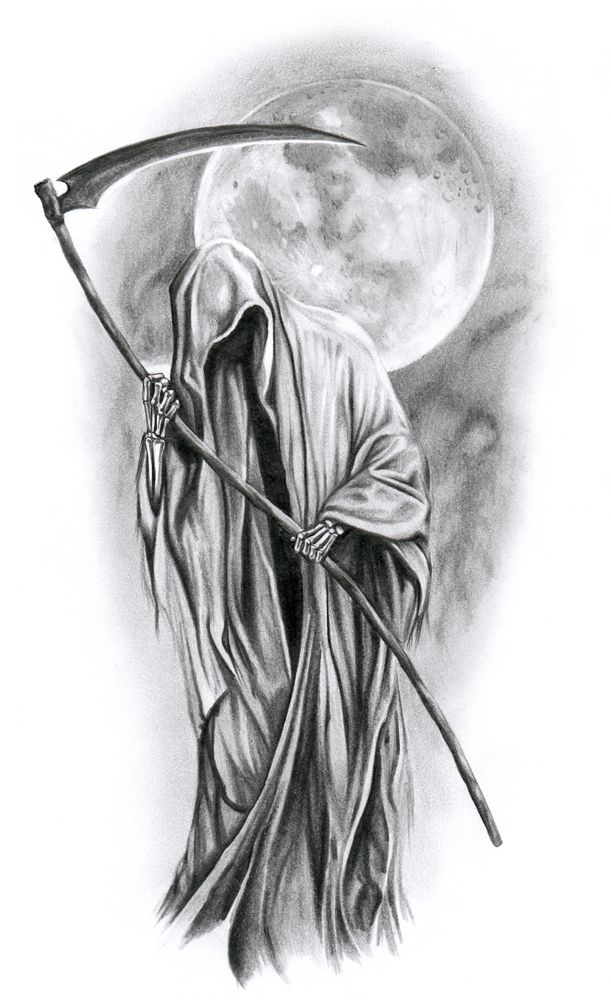 Black And Grey Grim Reaper With Full Moon Tattoo Design