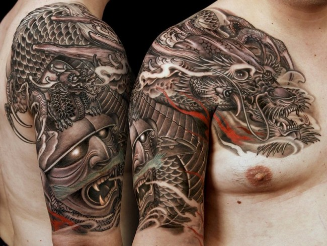 Black And Grey Japanese Dragon Tattoo On Man Right Shoulder