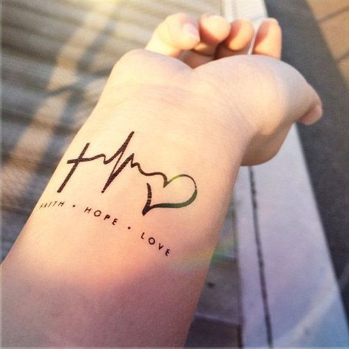 Black Cross With Heartbeat And Heart Tattoo On Girl Wrist