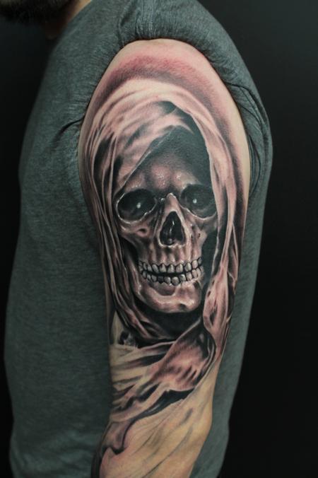 0d69b34ee Black Ink 3D Grim Reaper Skull Tattoo On Man Left Half Sleeve
