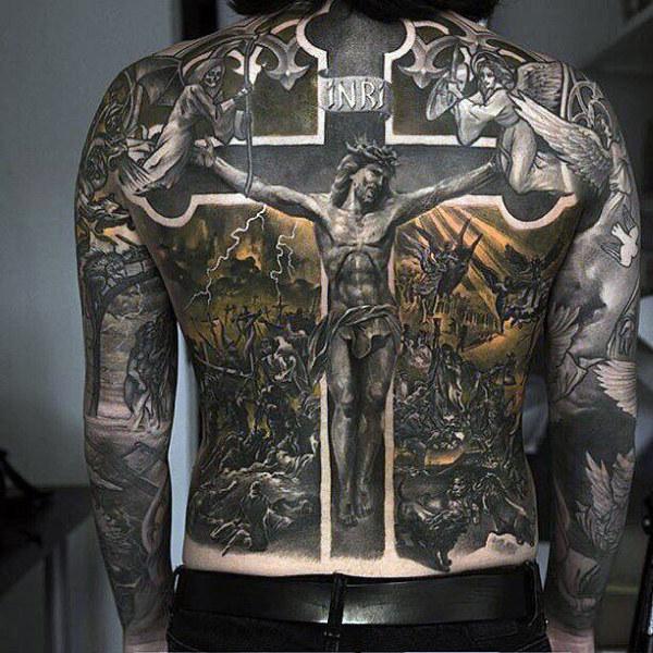 Black Ink 3D Jesus On Cross Tattoo On Man Full Back