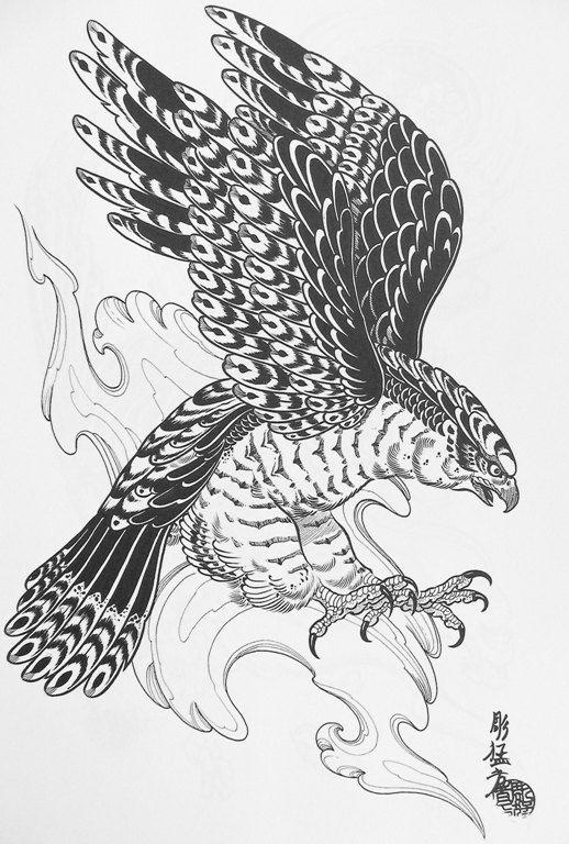 black ink flying hawk tattoo design. Black Bedroom Furniture Sets. Home Design Ideas
